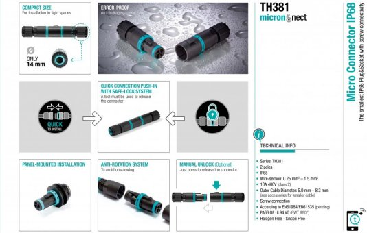 Techno launches smallest IP68 screw connector
